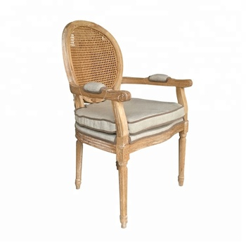 French louis natural linen dining cane round back armchair
