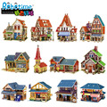 Beaty World Building Puzzle 3D DIY Wooden Norway Construction Puzzle Norway Railway Station Church Shop Folk