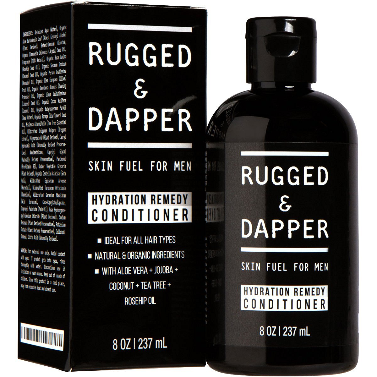RUGGED & DAPPER – Hair Conditioner for Men – 8 oz – Essential for Moisturizing Hair & Beard – Premium Quality - Natural & Organic Ingredients – Aloe & Tea Tree - Sulfate Free