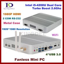 4GB RAM+1T HDD fanless i5 4200u mini pc linux computer,Intel HD 4400 Graphics,2*COM,4*USB 3.0, HDMI,4K HD HTPC