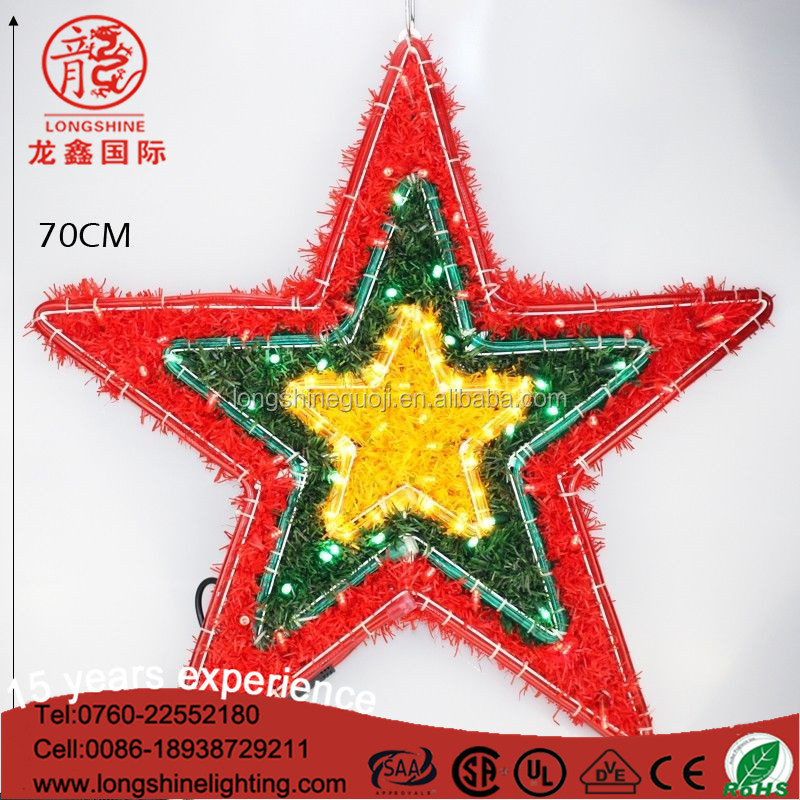 LED multicolor rattan Chritmas star rope motif light for led christmas tree top star