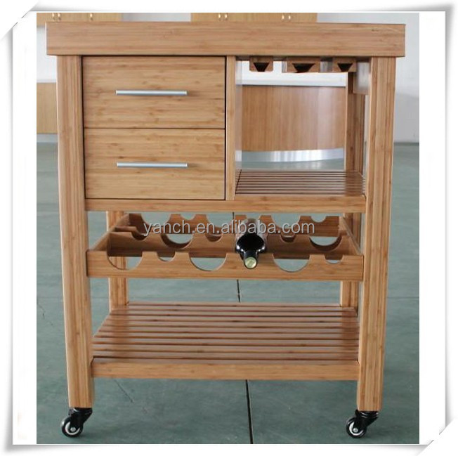 Carbonized Solid Bamboo Kitchen Trolly