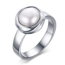 All-match fashion fashion accessories 12MM stainless steel female Pearl Ring