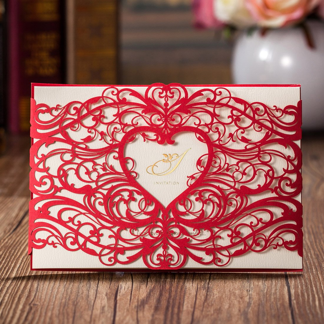 Wishmade 50 Pieces Red Laser Cut Wedding Invitations Cardstock With Elegant Heart Design Hollow floral for Birthday Baby Shower with Envelopes (pack of 50pcs)