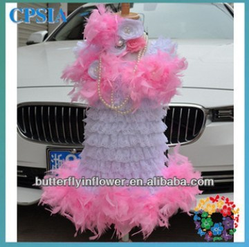 Wholesale! baby fashion feather dress pink and white dress infant dresses lovely design for girls