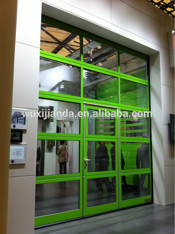 Tempered glass or polycarbonate glass aluminum and glass for Sectional glass garage door