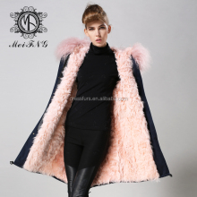 Custom color lady women real fur parka with high quality mongolian lamb