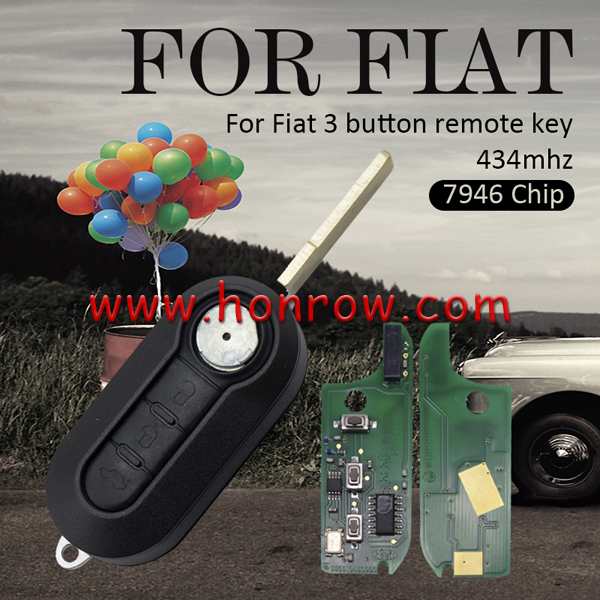 High quality 3 button remote key used for FIAT DOBLO-PUNTO with SIP22 blade with 434mhz 7946 chip, the PCB is original