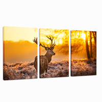 Deer At Dusk Digital Canvas Printing/Animal Modern Wall Art/Art Paintings 3 Panels