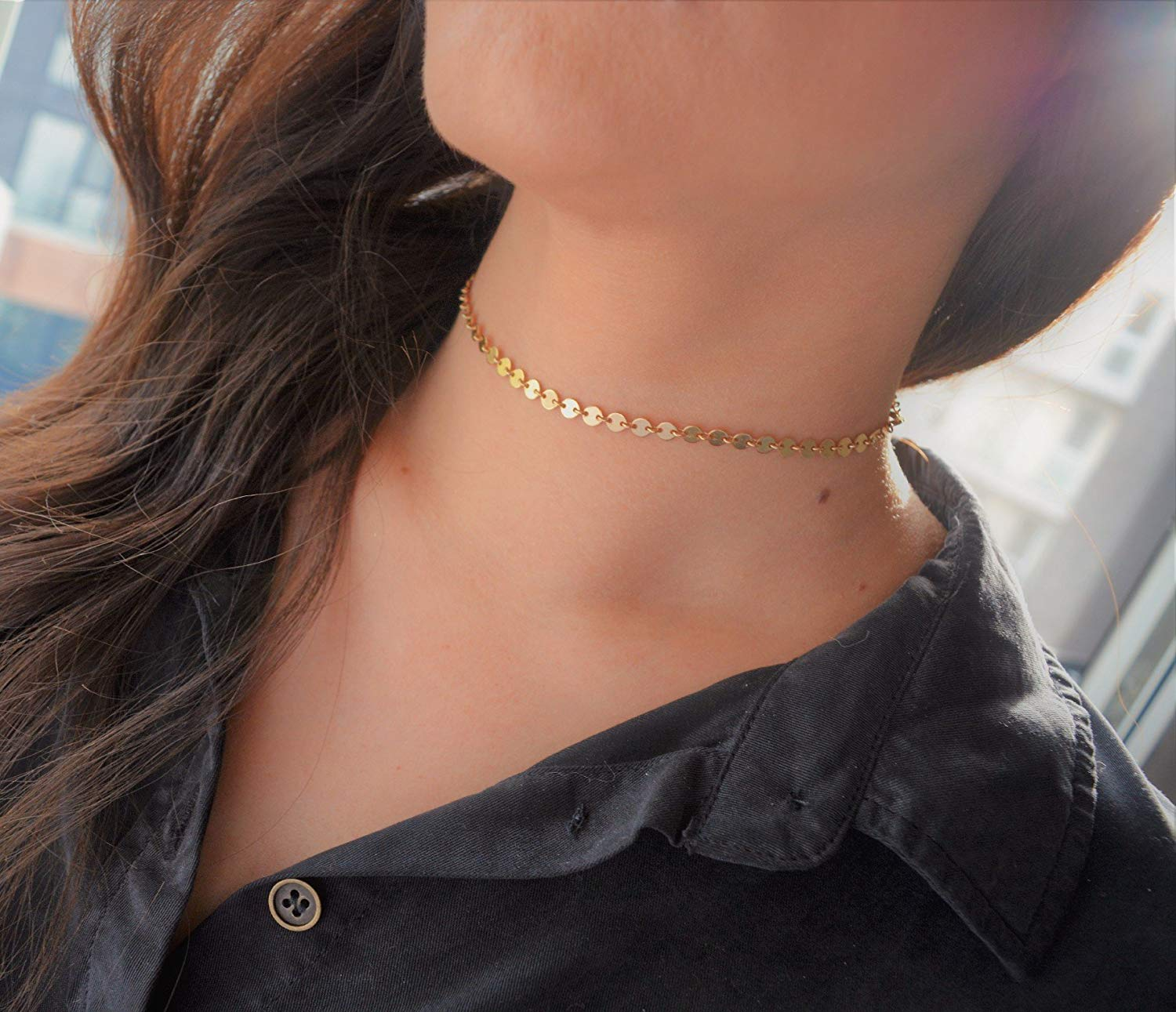 Choker necklace, rose gold choker necklace, rose gold choker chain, gold choker, silver choker, layering necklace, choker chain, choker