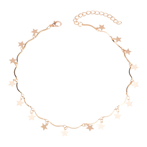 Dawei Hot Selling Western Style Star Charm Pendant Gold Choker Necklace Women