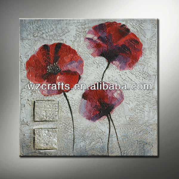 Abstract Red Flower Oil Painting on Canvas