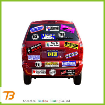 2014 custom fancy waterproof removable car bumper stickers