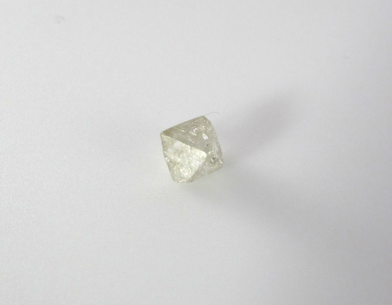 White Octahedron shaped uncut diamond, rough diamond, raw diamond