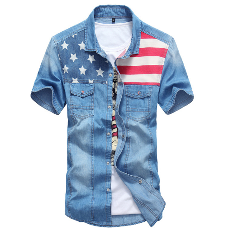 3aea1b5a96313 Buy Fashion 2015 Cotton Camisas Masculinas Social Men Clothing Flag Print  Jeans Mens Denim Shirts Slim Fit Short Sleeve With Pocket in Cheap Price on  ...