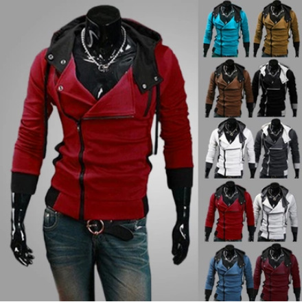 Assassins creed fleece Inclined zipper Hooded fleece jacket Men's sweater fleece###