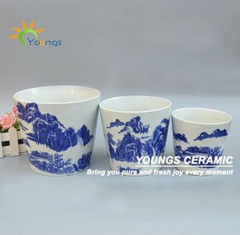 Wholesale Outdoor Elegant Blue And White Ceramic Planter