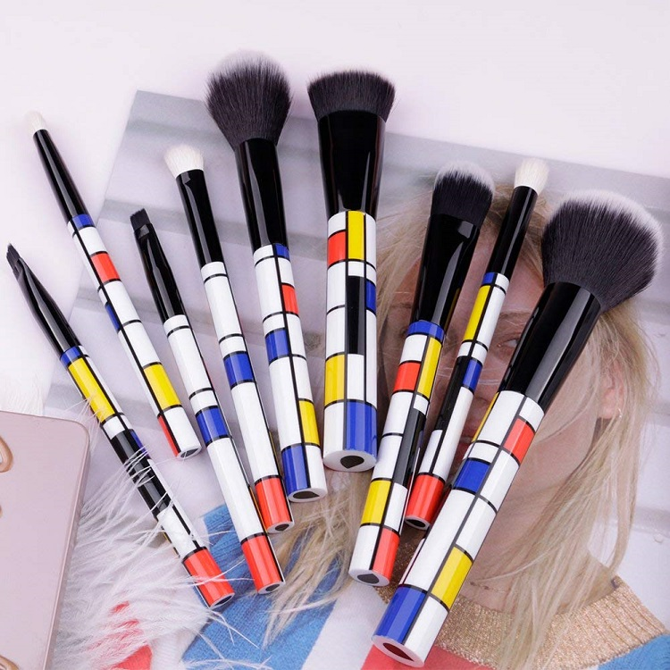 Face Powder Eye Shadow Eyeliner Foundation Blush Lip Liquid Cream Blending brush 9 pcs professional customized makeup brush set