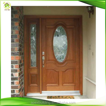 China Solid Wood Modern Exterior Front Doors With One Sidelight