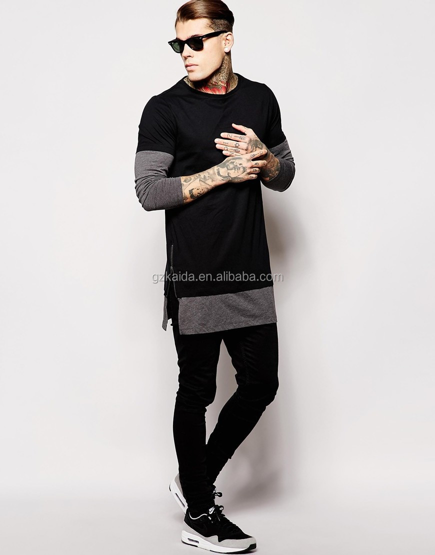 Black t shirt with zipper - Hot New 2015 Fashion Two Color Extra Long Sleeve Black T Shirt With Turtle