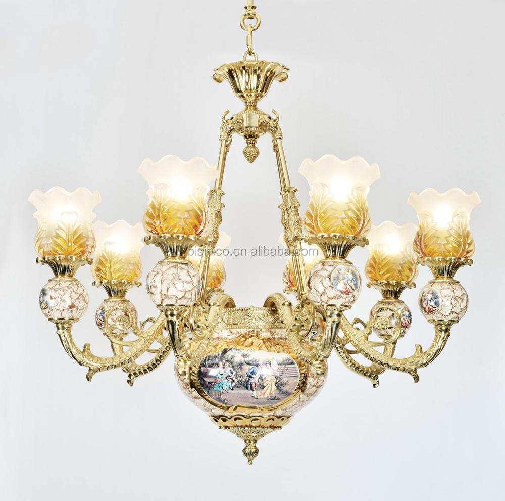 Arabic multiple lights ceramic chandelier antique royal brass arabic multiple lights ceramic chandelier antique royal brass porcelain pendant lamp for hotel villa arubaitofo Image collections