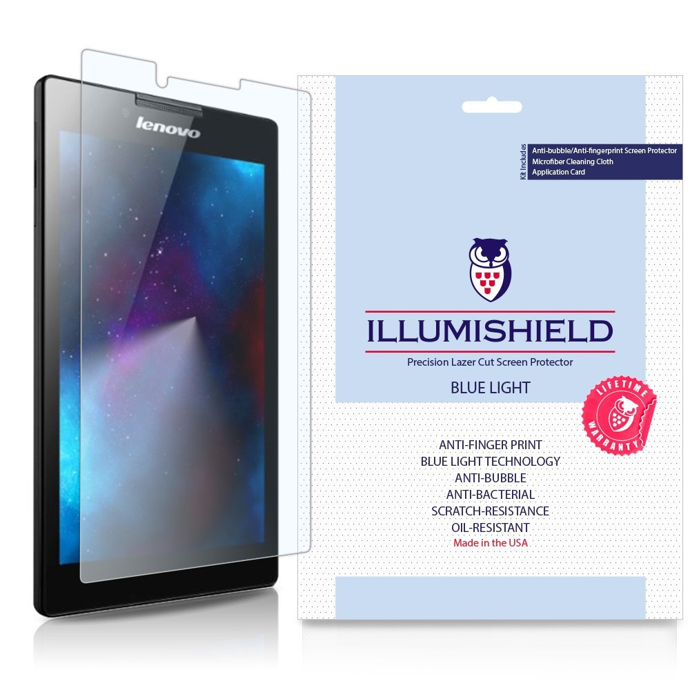 iLLumiShield - Lenovo Tab 2 A7-10/A7-30 Screen Protector with HD Blue Light UV Filter and Lifetime Replacement Warranty / Premium High Definition Clear Film / Reduces Eye Fatigue and Eye Strain - Anti- Fingerprint / Anti-Bubble / Anti-Bacterial Shield - [2-Pack] Retail Packaging
