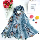 Cosum new arrival women lady scarf digital printed scarf 100% cotton voile fabric scarf