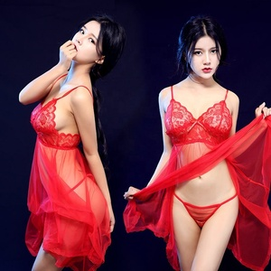 Wholesale Hot Sale Cheap See-through Sexy Lingerie Lace Mesh Temptation Plus Size Strap Sexy Nightgown Sleepwear For Women