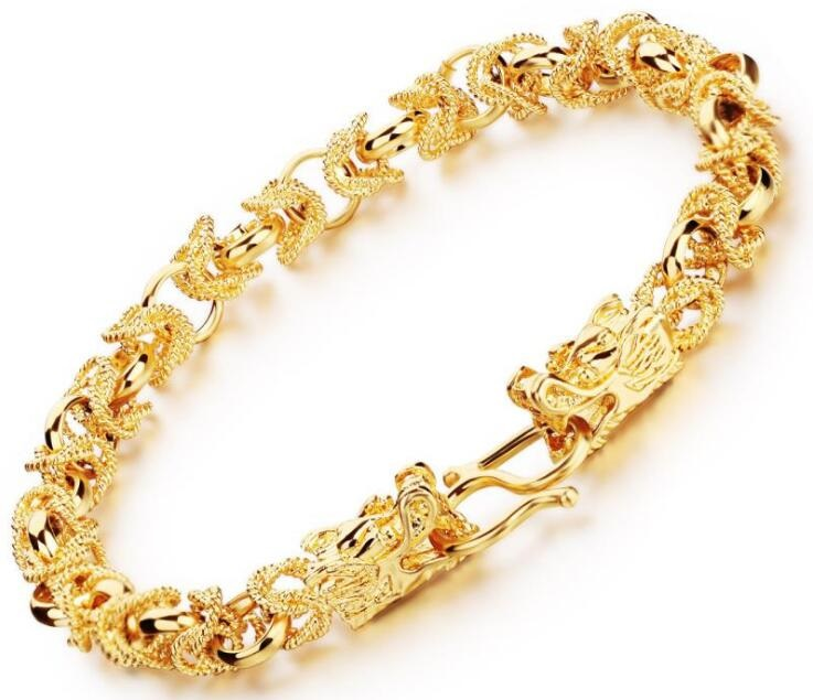 Hollow out twisted chain double dragon 18k italian gold bracelet