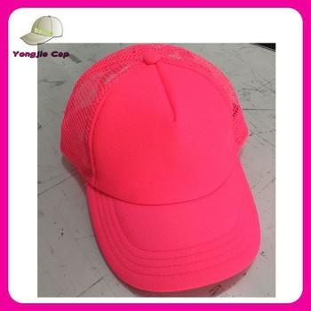 Balde de plástico tampão do camionista em branco 6-painel boné de beisebol  neon rosa 9c56e221de8