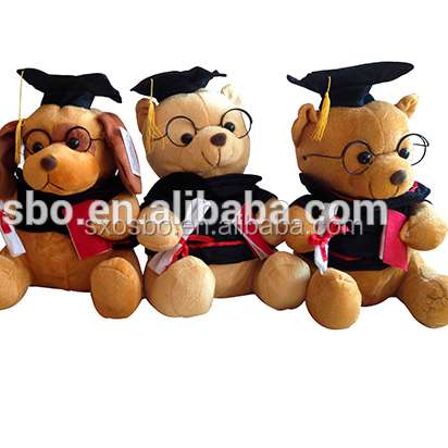 Sitting plush Graduation Teddy Bear with Cap and Gown stuffed graduated <strong>animal</strong>