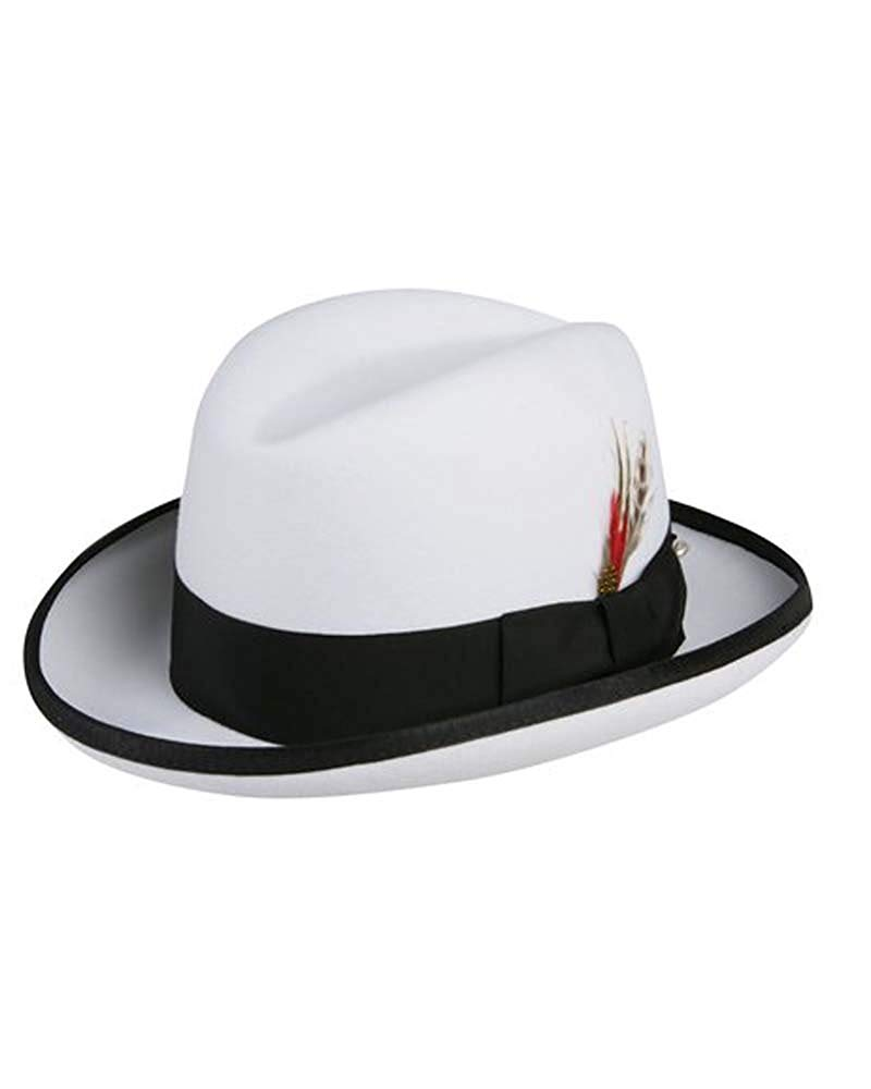 5f4cb440e4b Get Quotations · Godfather Homburg Fedora Hat in White with Black Band