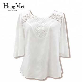 29feb92dcf8108 New Fashion Lace Crochet Blouse Designs 3/4 Sleeve Cotton Tops - Buy ...