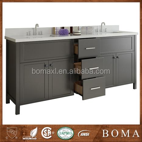 elegante mueble de bao con encimera de mrmol blanco de madera maciza vanidad de madera