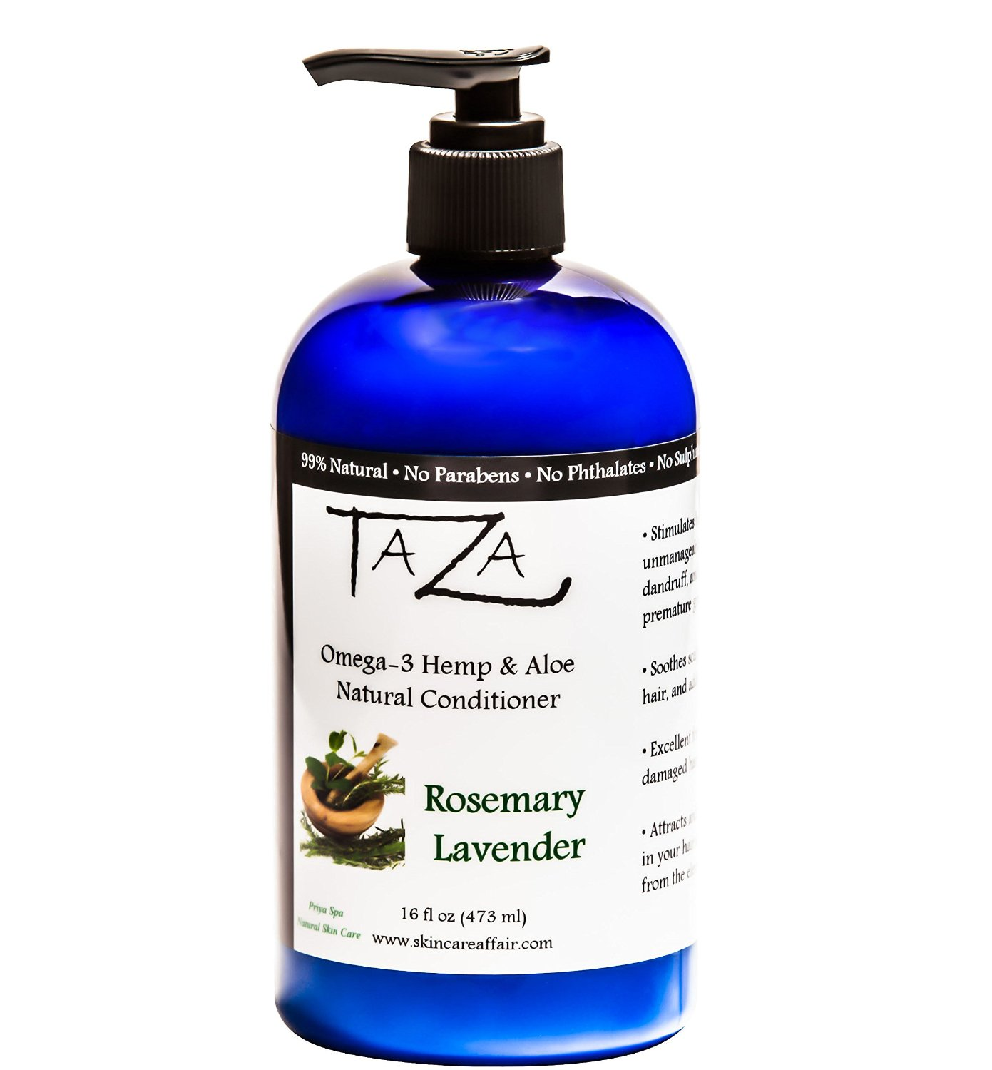 Premium Taza Natural Omega-3 Hemp & Aloe Rosemary Lavender Conditioner, 16 fl oz ♦ For Healthy Hair ♦ Contains: Hemp Seed Oil, Coconut Oil, Aloe Leaf Juice, Pro V B5, Hydrolyzed Wheat Protein