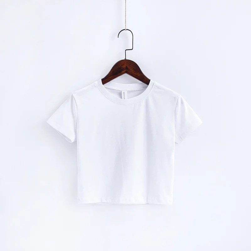 Hot selling blank round neck women crop top t shirt