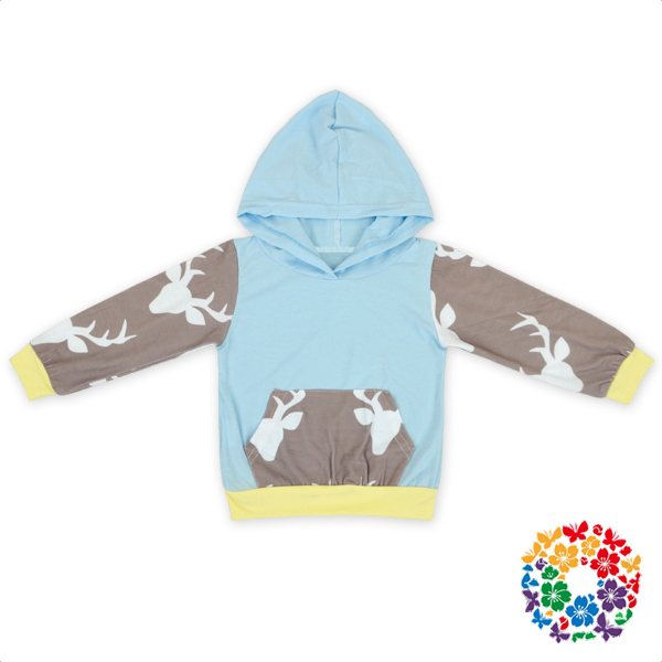 Infant And Toddler Ligth Blue Deer Print Pullover Hoodie And Long Pants Brand Clothes Set