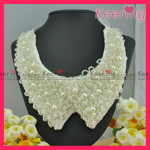 wholesale ladies pearl and beads handmade on cotton collar garment neckline WNL-1203
