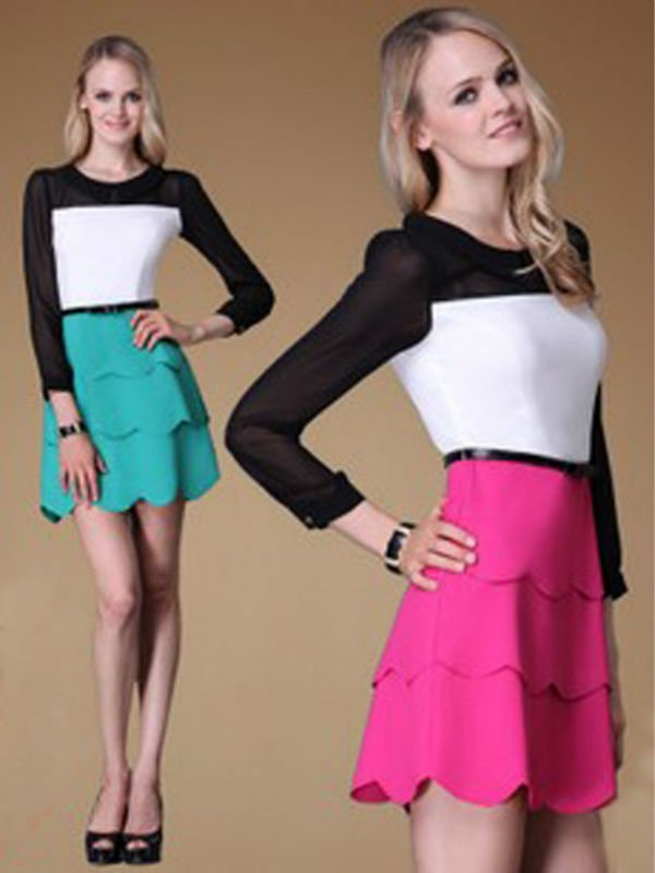 Tiered women dresses long sleeve 2012 fashion clothing manufacturers