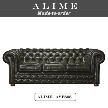 Alime Asf808 3 Dark Green Italian Leather Sofa Set Chesterfield Couch View Italian Leather Sofa Set Alime Product Details From Jiangmen Alime