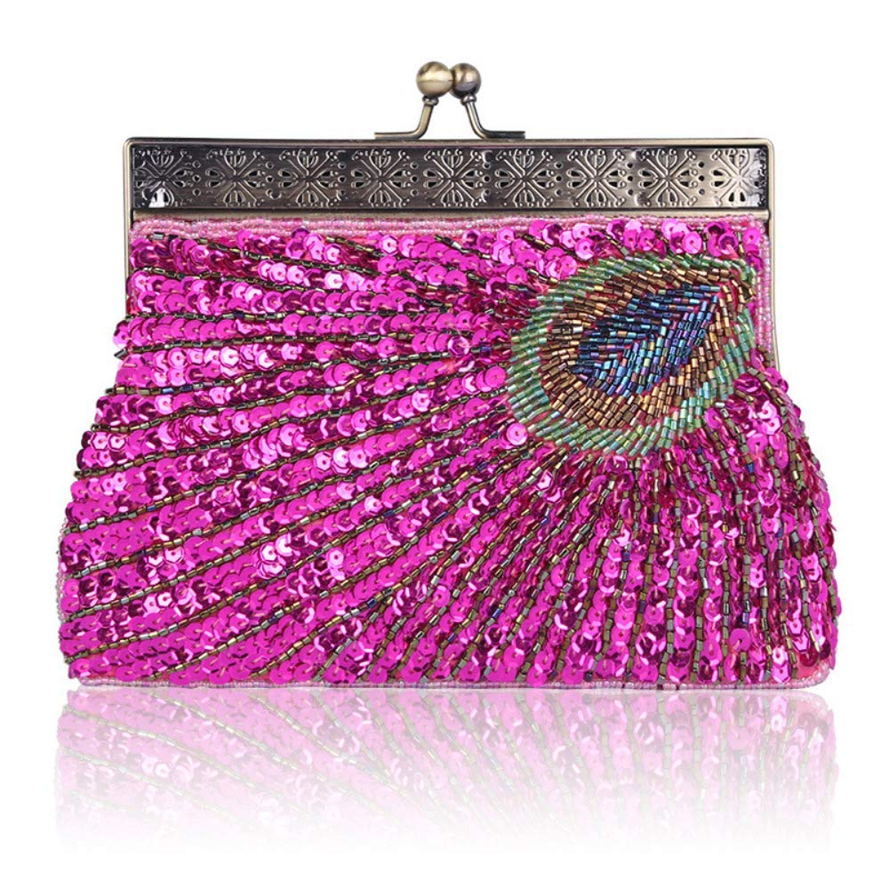 a965f03d2e6 Get Quotations · Women's Purse Retro Beaded Sequins Peacock Clutch Evening  Bag Wedding Handbag Luxurious Party Wallet