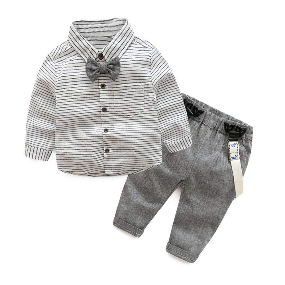 457c0c80a Get Quotations · Tem Doger Baby Boys Long Sleeve Woven Striped Shirt+Bowtie+Suspender  Pants With Straps