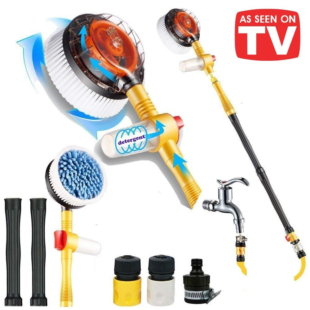 Sale-Premium Water Powered Rotary Brush for Cars, Trucks, Rv's, Motorcycles, Rims, Outdoor Furniture, Dirty Boots and More. Spin Away Dirt and Grime Like a Boss with Our Spinning Brush