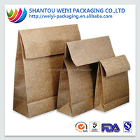 Low Cost Brown Custom Printing Craft Kraft Paper Bag for fast food packaging