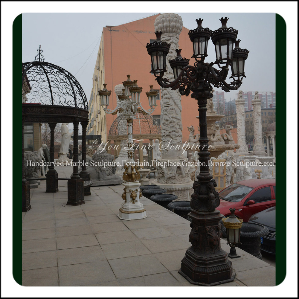 Antique Outdoor Cast Iron Lamp Post For Sale