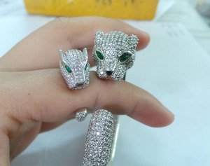 SB0020 green stone eyes sterling silver leopard head bangle and ring set