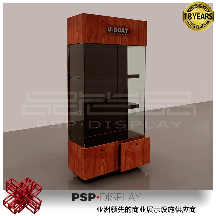 Luxury jewelry shop furniture jewelry display showcase glass square pedestal case