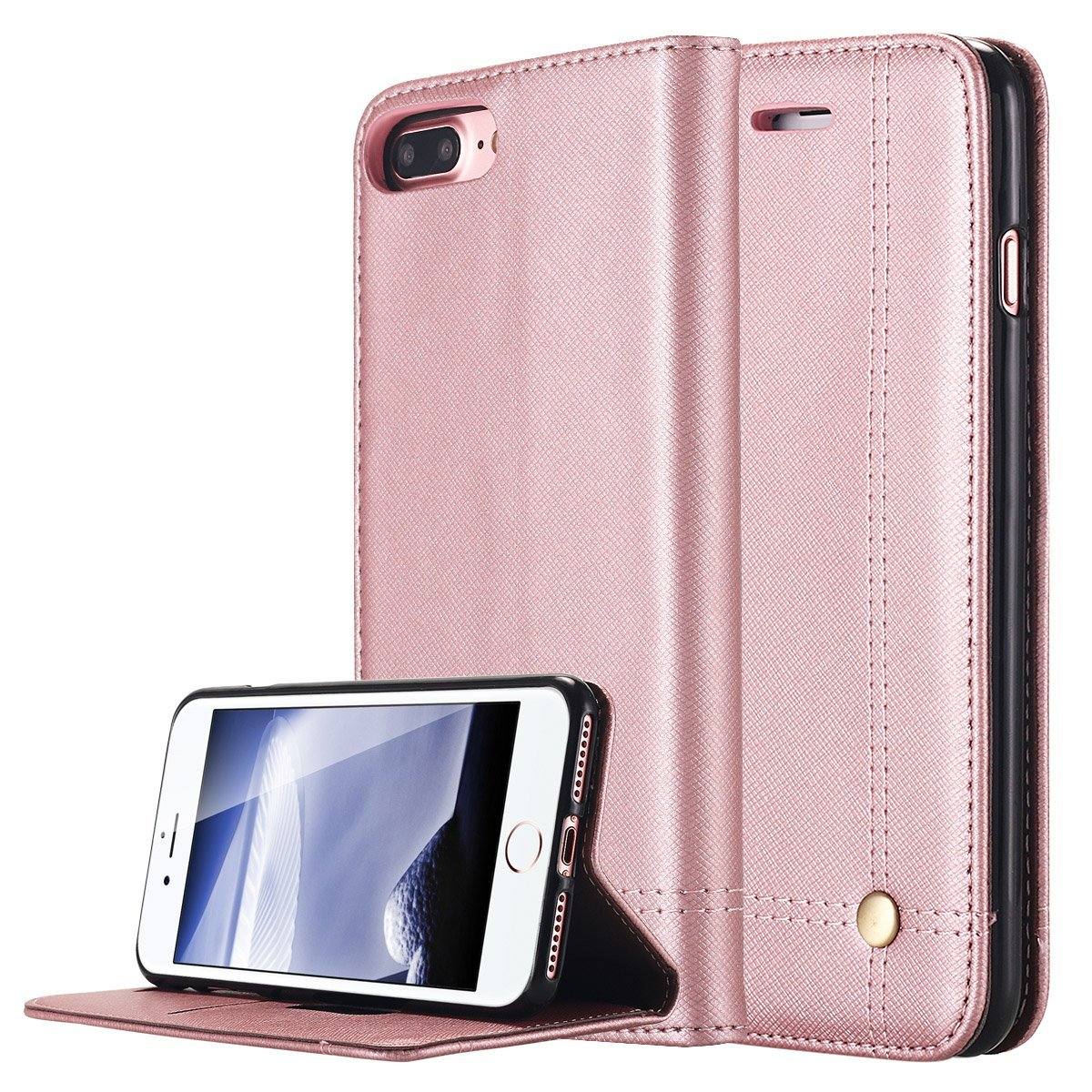 iPhone 7 Plus Case, LONTECT Slim Folio Flip PU Leather Stand Cover Wallet Case with Card slots Magnetic Closure for Apple iPhone 7 Plus - Rose Gold