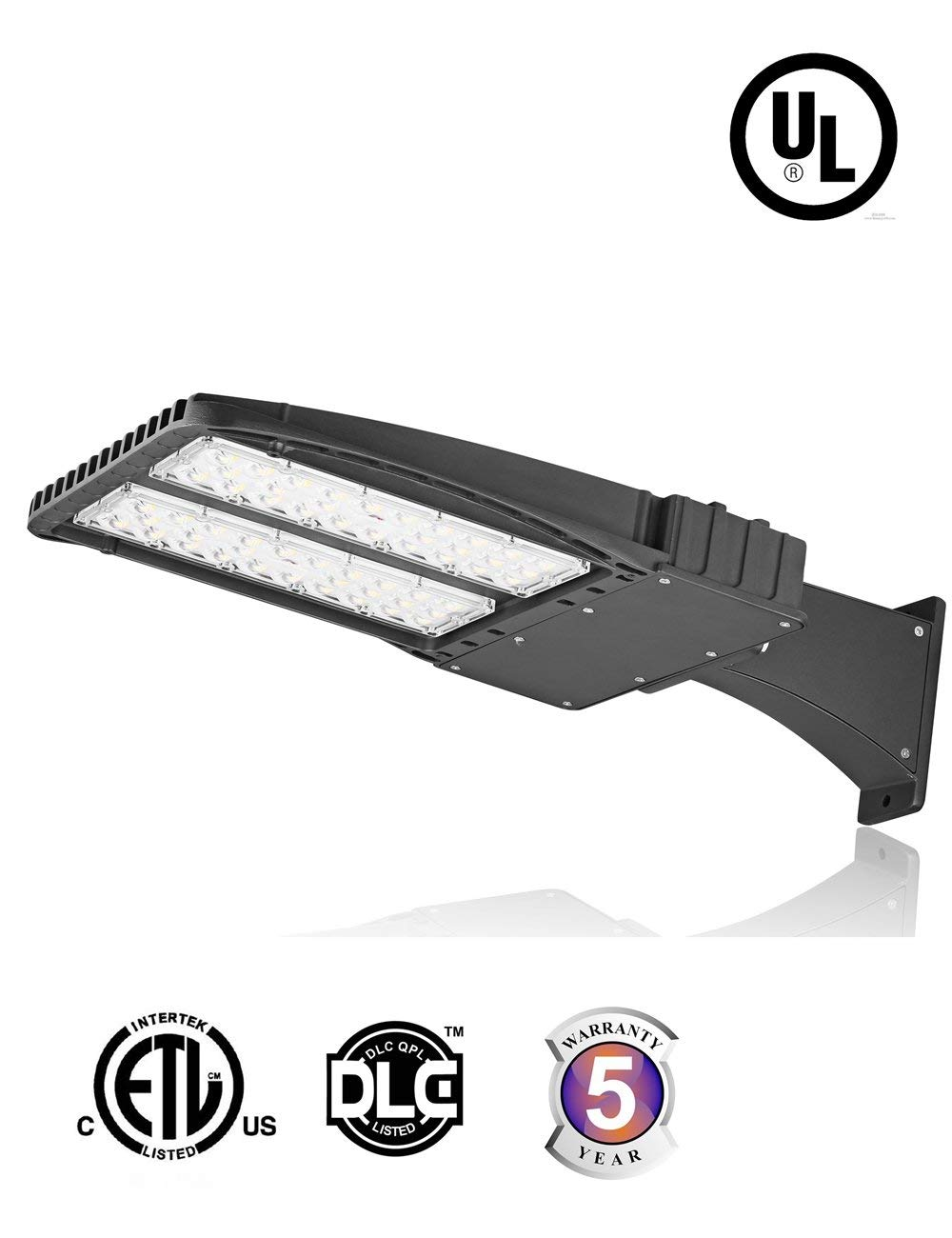 Docheer 200W LED Shoebox Pole Light Parking Lots Fixture Lighting, 24000 Lumens Outdoor Commercial Area Road Light Pathway Lamp,100-277VAC,Daylight White 5300K (Arm Mount)