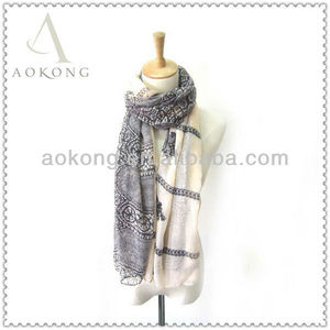 Cream color polyester lace printed scarf